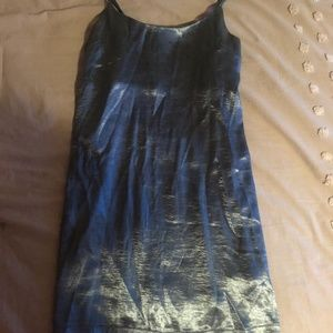 Silk Blue Shift Dress with adjustable straps